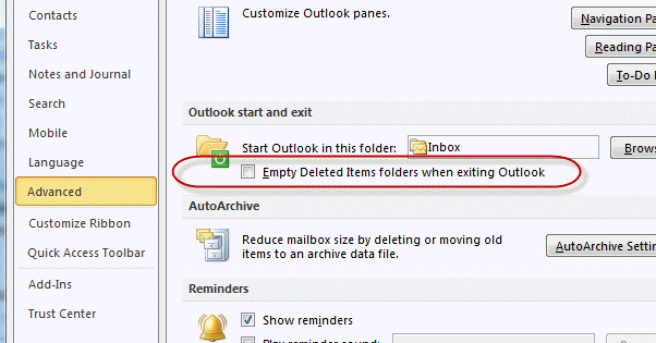 Empty Deleted Items Outlook