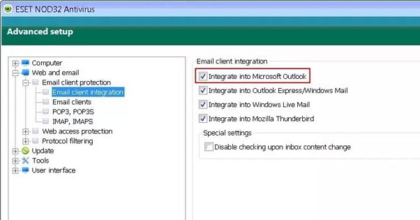 Outlook Antivirus Integration