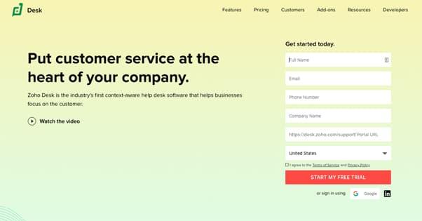 Zoho Homepage
