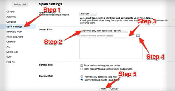 Gmail Whitelist Steps
