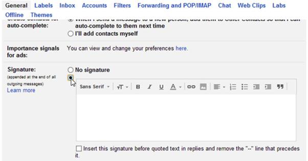 Adding a Signature in Gmail