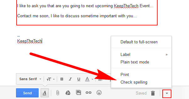 Checking Spelling in Gmail