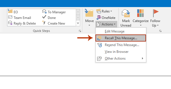 Recall Email in Outlook