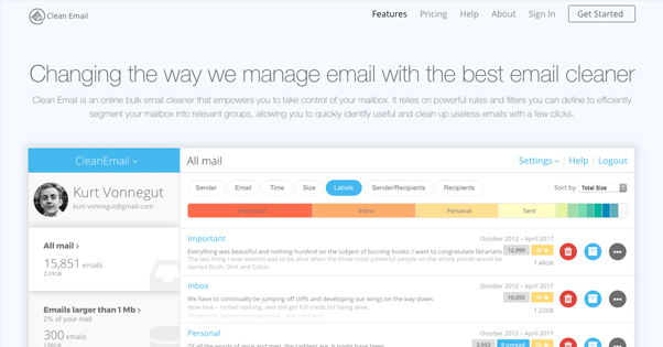 Clean.email Homepage
