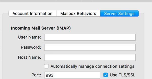 IMAP Settings in Mac Mail