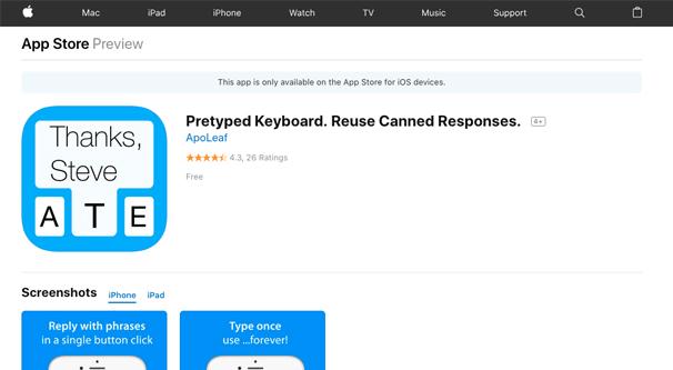 Pretyped Keyboard App