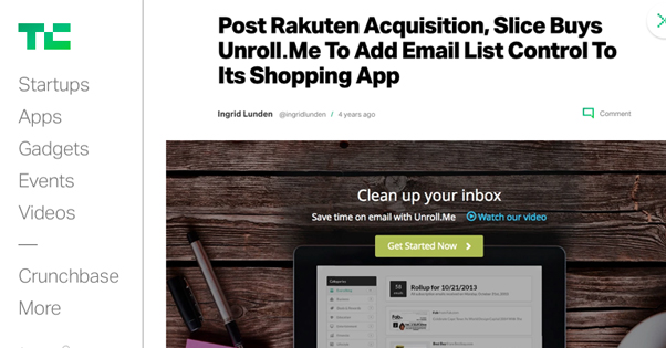 Unroll.me Sold to Rakuten