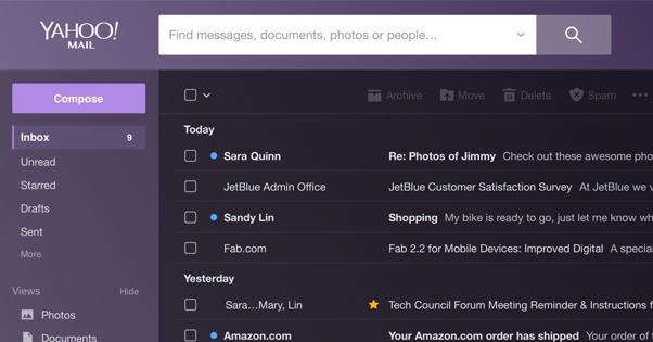 Dark Mode in Yahoo Mail