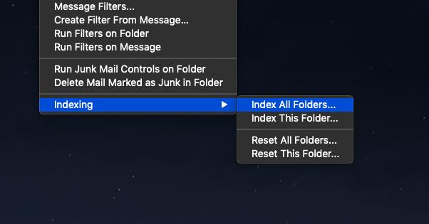 Reindex Email Folders