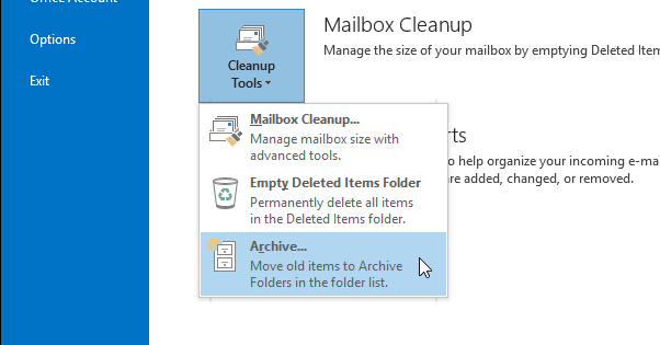 Archive Emails in Outlook