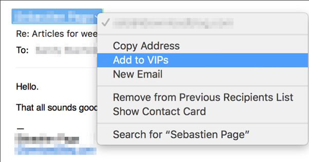 Adding an Email to VIP