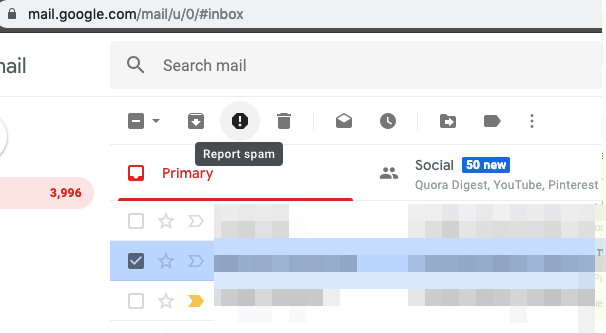 Reporting an Email as Spam