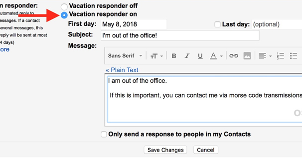 Vacation Responder Settings