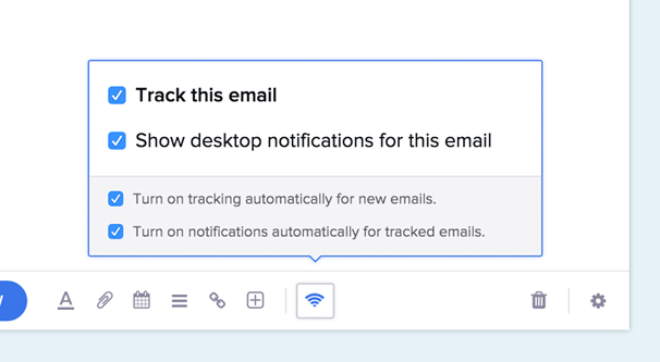 Email Tracking Settings